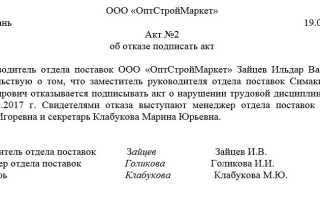 Акт об отказе подписать трудовой договор образец