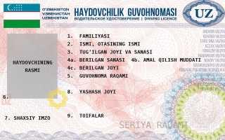 Водительское удостоверение узбекистана образец